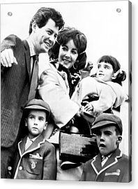 Elizabeth Taylor With Family Acrylic Print by Retro Images Archive
