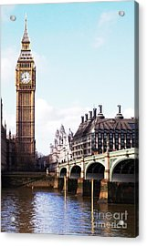 Elizabeth Tower On The Thames Acrylic Print by Jessica Panagopoulos