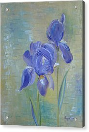 Acrylic Print featuring the painting Elizabeth's Irises by Judith Rhue