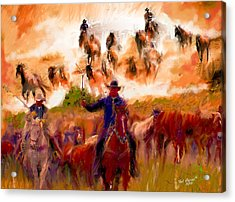 Elk Horse Round Up Acrylic Print by Ted Azriel