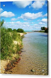 Elk River With Fluffy Clouds Acrylic Print by Michelle Calkins