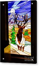 Elk Stained Glass Window Acrylic Print by Robert Bales