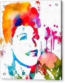 Ella Fitzgerald Paint Splatter Acrylic Print by Dan Sproul