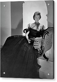 Ellen Astor Wearing A Tulle Dress Acrylic Print by Horst P. Horst