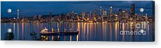 Elliott Bay Seattle Skyline Night Reflections  Acrylic Print by Mike Reid