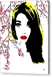 Elsa With Cherry Blossoms Acrylic Print by Alexandra Rose