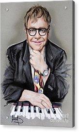 Elton John Acrylic Print by Melanie D