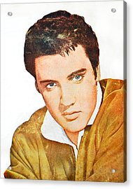Elvis Colored Portrait Acrylic Print by Gina Dsgn