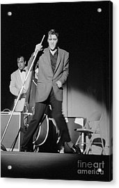 Elvis Presley And Bill Black Performing In 1956 Acrylic Print by The Harrington Collection