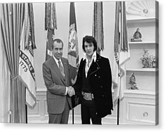 Elvis Presley And Richard Nixon-featured In Men At Work Group Acrylic Print