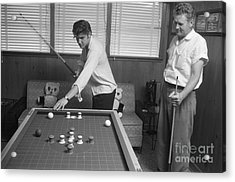 Elvis Presley And Vernon Playing Bumper Pool 1956 Acrylic Print