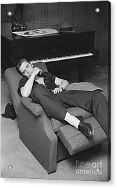 Elvis Presley At Home By His Piano 1956 Acrylic Print by The Harrington Collection