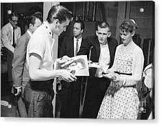 Elvis Presley Backstage Signing Autographs For Fans 1956 Acrylic Print by The Harrington Collection