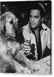 Elvis Presley Has A Milkshake With Dog Acrylic Print by Retro Images Archive