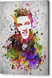 Elvis Presley In Color Acrylic Print by Aged Pixel