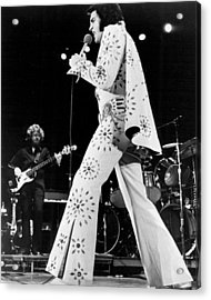 Elvis Presley In White Outfit On Stage Acrylic Print by Retro Images Archive
