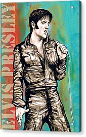 Elvis Presley - Modern Art Drawing Poster Acrylic Print by Kim Wang