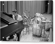 Elvis Presley On Piano Waiting For A Show To Start 1956 Acrylic Print by The Harrington Collection