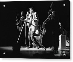 Elvis Presley On Stage With Scotty Moore And Bill Black 1956 Acrylic Print by The Harrington Collection
