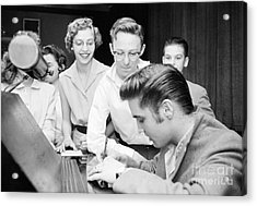 Elvis Presley Signing Autographs For Fans 1956 Acrylic Print by The Harrington Collection