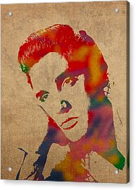 Elvis Presley Watercolor Portrait On Worn Distressed Canvas Acrylic Print by Design Turnpike