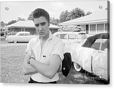 Elvis Presley With His Cadillacs 1956 Acrylic Print by The Harrington Collection