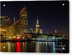 Embarcadero Blue Hour Acrylic Print by Kate Brown