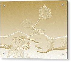 Embossed Gold Rose By Jan Marvin Studios Acrylic Print