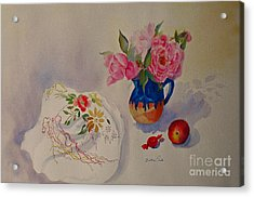 Embroidery And Roses Acrylic Print
