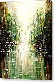 Acrylic Print featuring the painting Emerald City Falls by Patricia Lintner