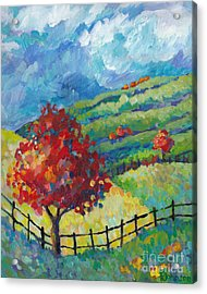 Emerald Hills Middle Panel Of Triptych Acrylic Print