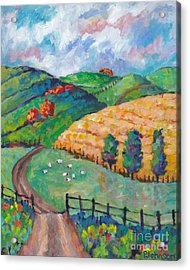 Emerald Hills Right Panel Of Triptych Acrylic Print