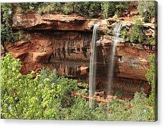 Emerald Pool Falls Acrylic Print by Darryl Wilkinson