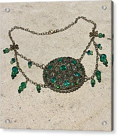 Emerald Vintage New England Glass Works Brooch Necklace 3632 Acrylic Print by Teresa Mucha
