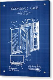 Emergency Case Patent From 1904 - Blueprint Acrylic Print by Aged Pixel