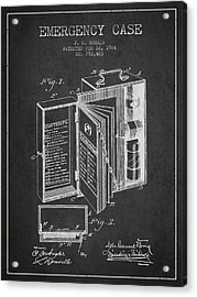Emergency Case Patent From 1904 - Charcoal Acrylic Print by Aged Pixel