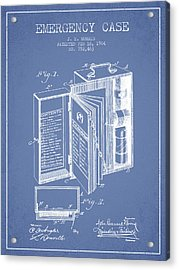 Emergency Case Patent From 1904 - Light Blue Acrylic Print by Aged Pixel