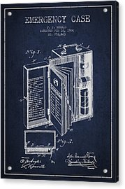 Emergency Case Patent From 1904 - Navy Blue Acrylic Print by Aged Pixel