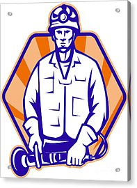 Emergency Worker With Angle Grinder Tool Retro Acrylic Print by Aloysius Patrimonio