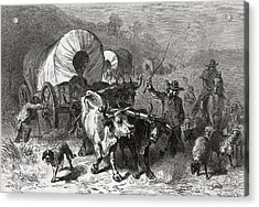 Emigration To The Western Country, Engraved By Bobbett Engraving Bw Photo Acrylic Print by Felix Octavius Carr Darley