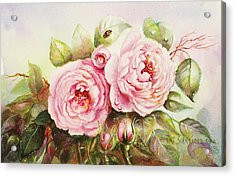 Acrylic Print featuring the painting Emily English Roses by Patricia Schneider Mitchell