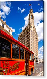 Emily Morgan Hotel And Red Streetcar - San Antonio Texas Acrylic Print