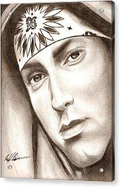 Eminem Acrylic Print by Michael Mestas