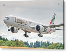 Acrylic Print featuring the photograph Emirates 777 by Jeff Cook
