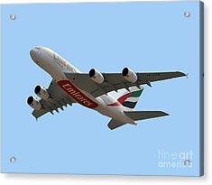 Emirates Airlines Airbus A380-861 Acrylic Print by Graham Taylor