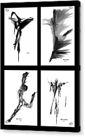Emotions In Black - Abstract Quad Acrylic Print