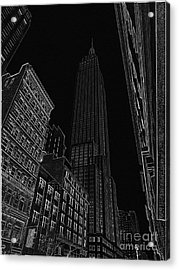 Empire Nyc White On Black Acrylic Print by Meandering Photography