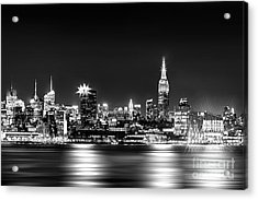 Empire State At Night - Bw Acrylic Print by Az Jackson
