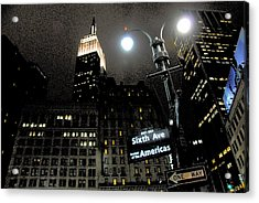 Empire State Building At Night Acrylic Print