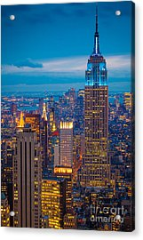 Empire State Blue Night Acrylic Print by Inge Johnsson